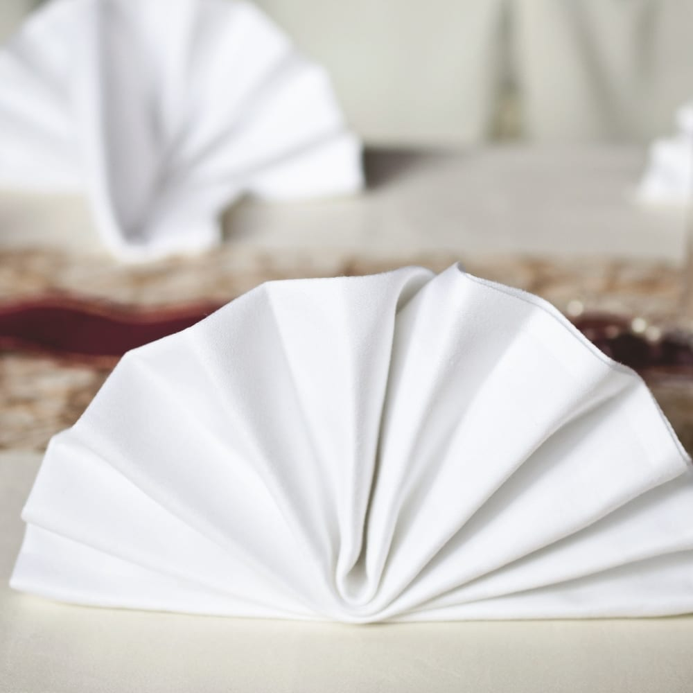 White Napkins Fanned Out