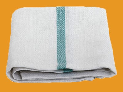 Green stripe herringbone kitchen towel