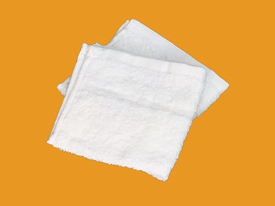 Full white terry washcloths