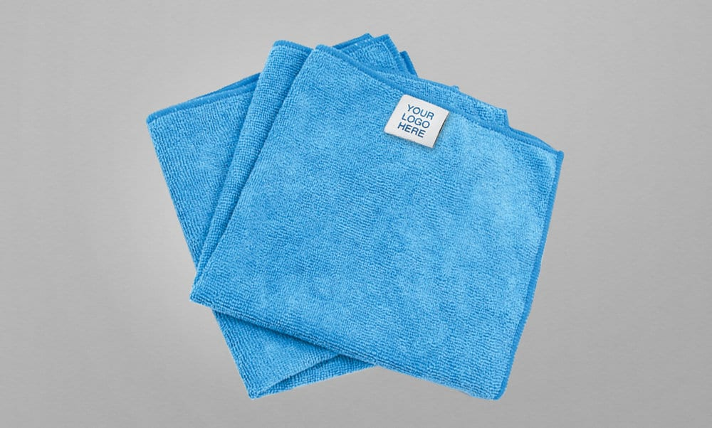 """Blue microfiber with """"Your Logo Here"""" tag"""