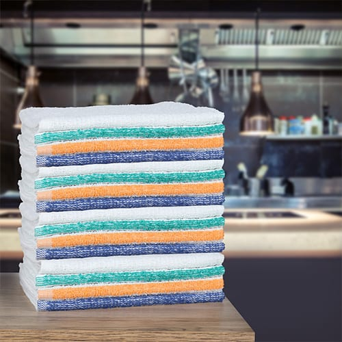 stack of bar mops on counter