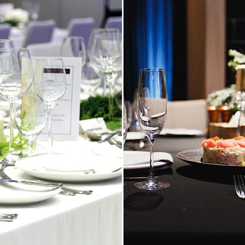 fancy table setup on table linen