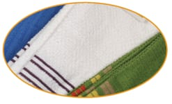 white towel with blue stripes