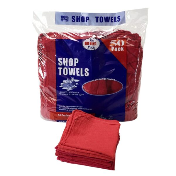 Retail Packed Red Shop Towels