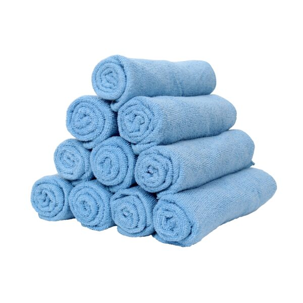 Blue Microfiber Hand Towels rolled and stacked