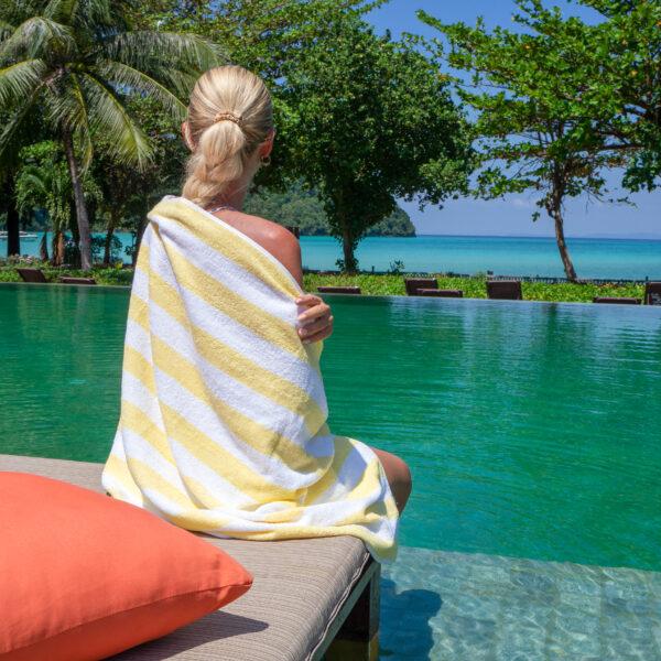 Yellow Cabana Pool Towel wrapped around blonde woman