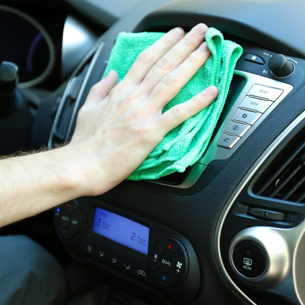 Green Microfiber Cloth 20 gram used to clean car entertainment system