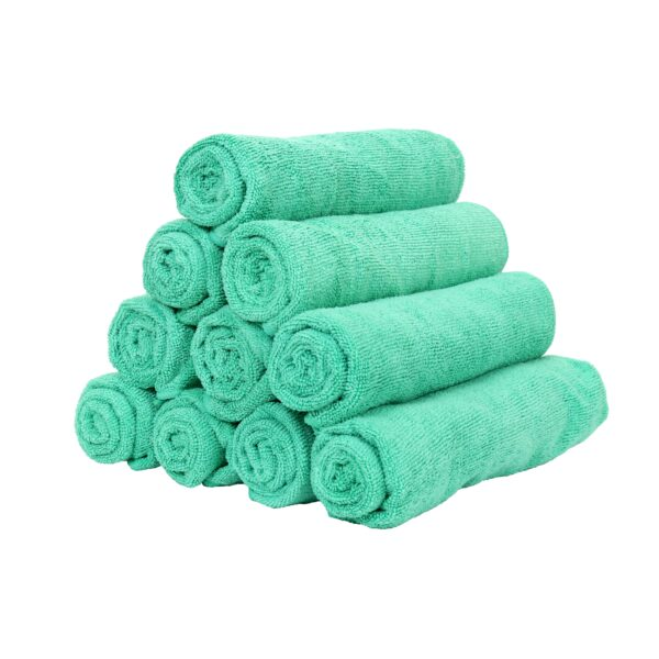 Green Microfiber Hand Towels rolled and stacked
