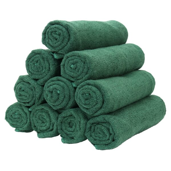 Hunter Green Microfiber Hand Towels rolled and stacked
