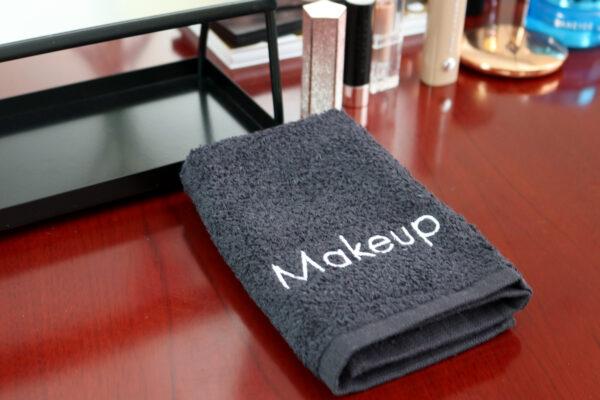 Makeup Towel folded on vanity table