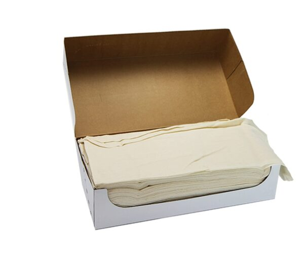 Natural cheesecloth stacked inside box