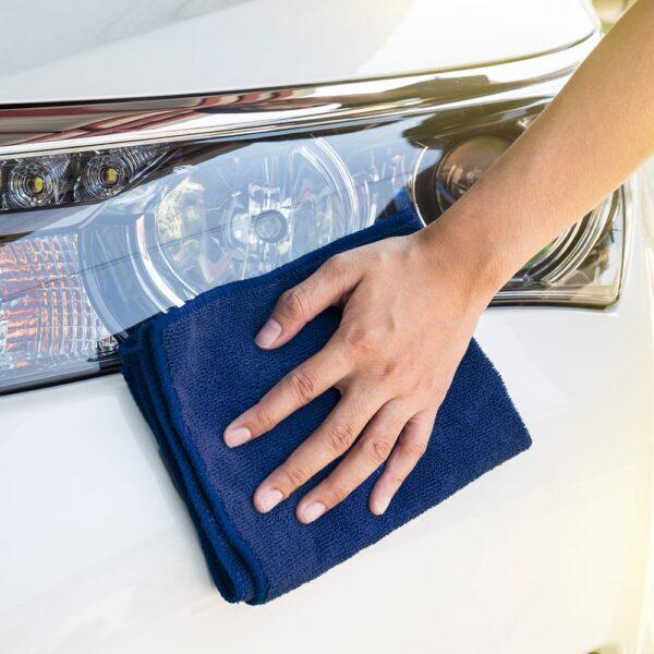 Navy Microfiber Cloth used to wipe down car headlights