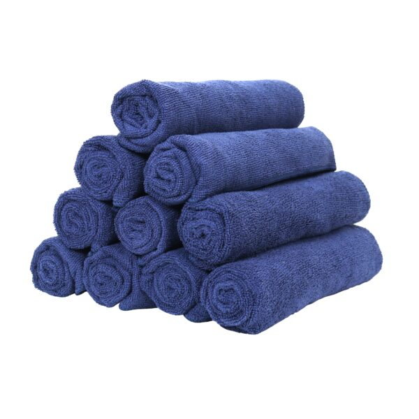 Navy Microfiber Hand Towels rolled and stacked