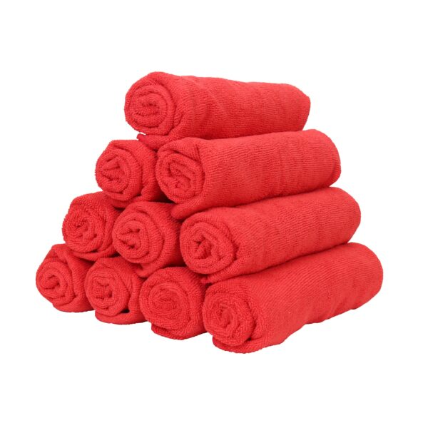 Red Microfiber Hand Towels rolled and stacked
