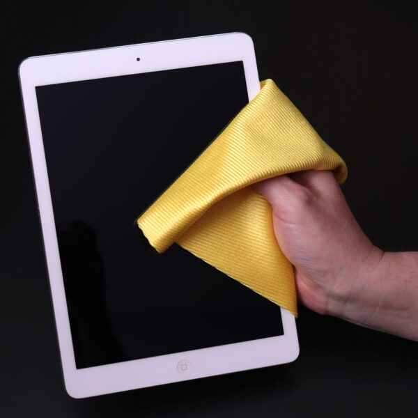 Shiny Gold Glass Cloth used to clean iPad