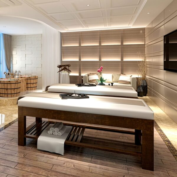 Spa bed with white linen