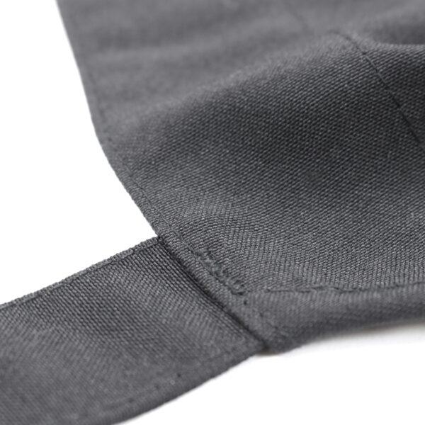 Black Poly Spun Apron stitching closeup