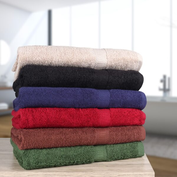 True Color Bath and Hand Towels stacked with bathroom backdrop
