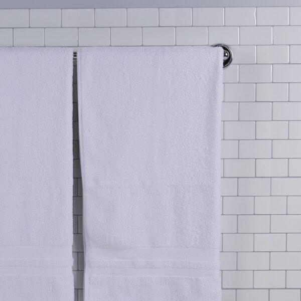 Magellan Towel Collection hanging on towel rack