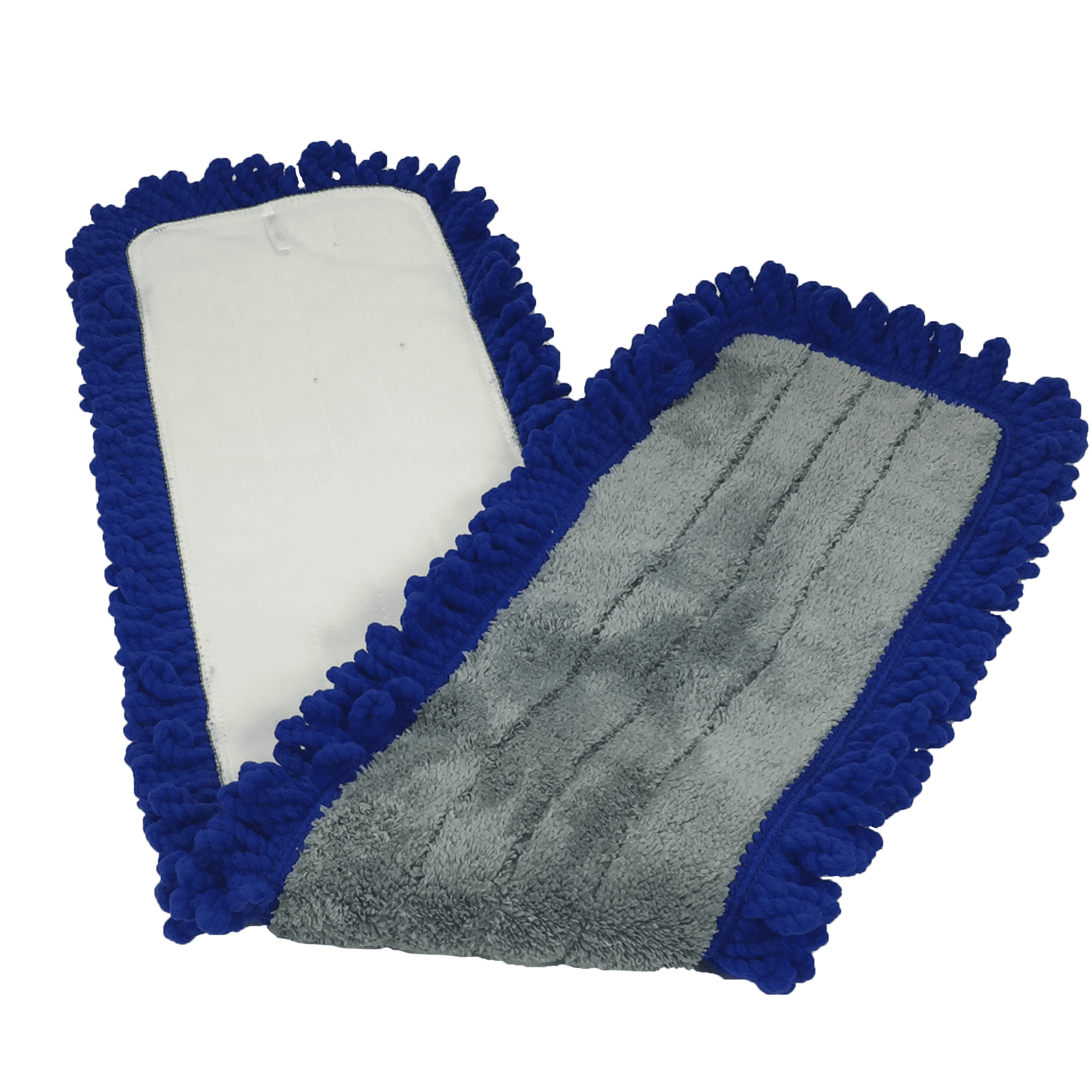 48 in Gringed Microfiber Dry Dust Mop Pad with Canvas Backing ~  Blue//Grey