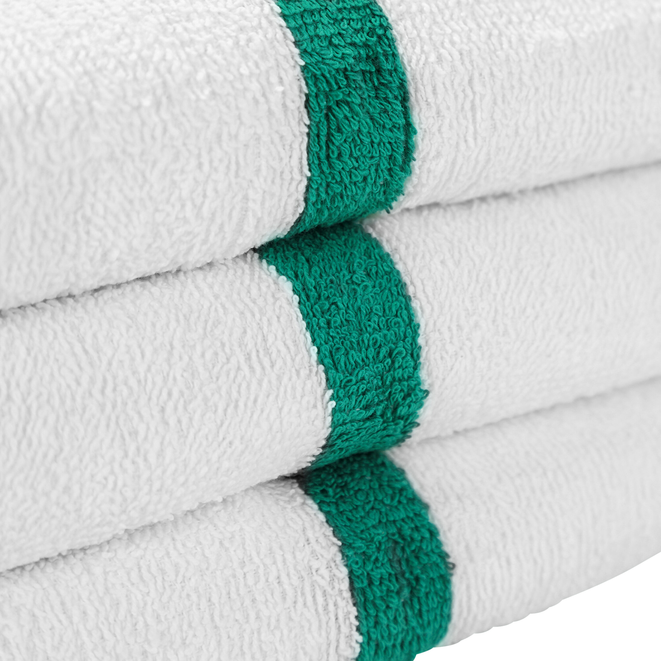 White Gym Towel with Green Stripe stacked closeup