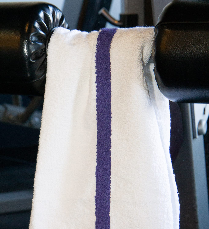 White Gym Towel with Blue Stripe