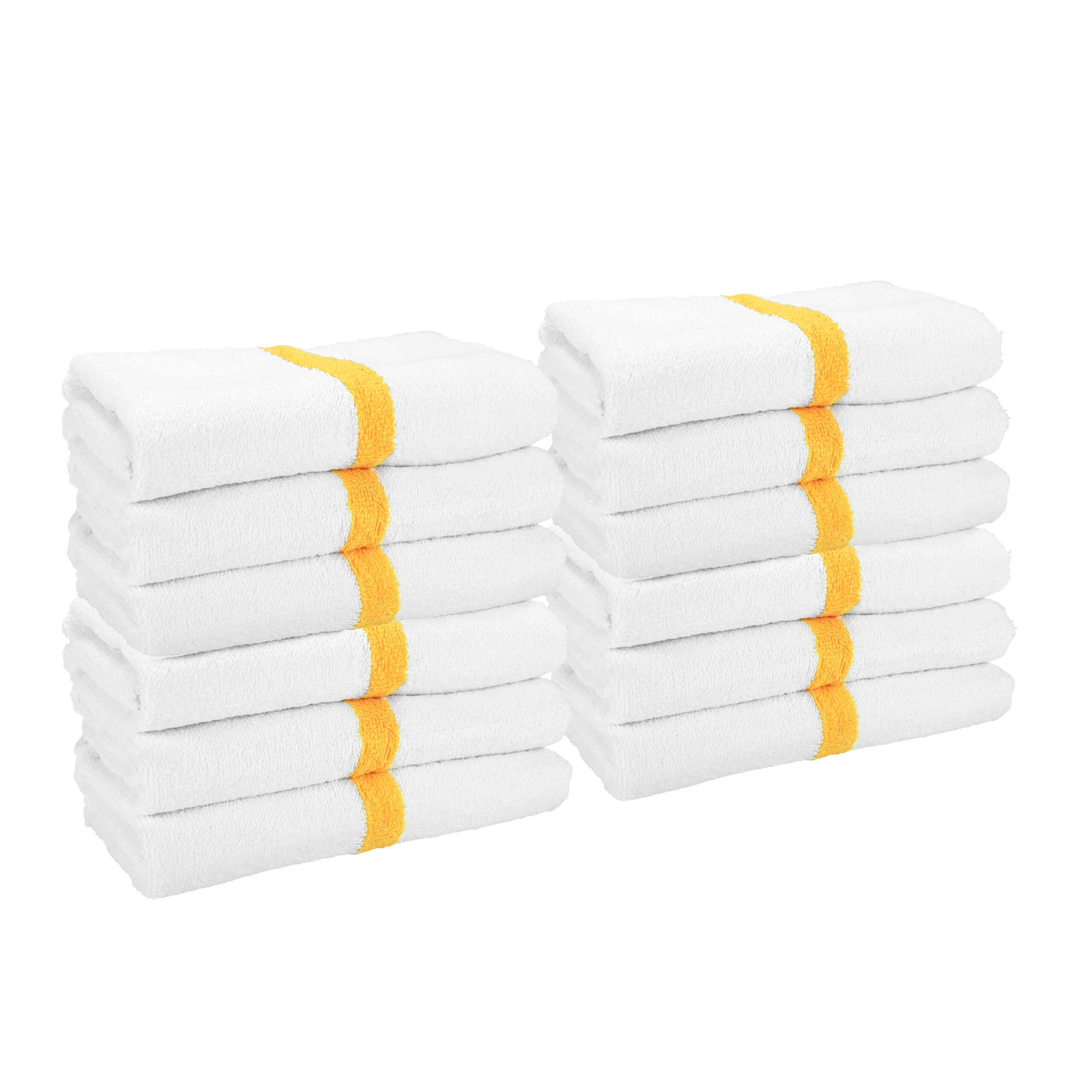 White Gym Towel with Gold Stripe stacked