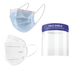Group of PPE masks