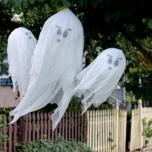 DIY ghosts hanging on trees
