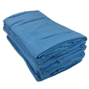 Blue Huck Towel folded in half and stacked