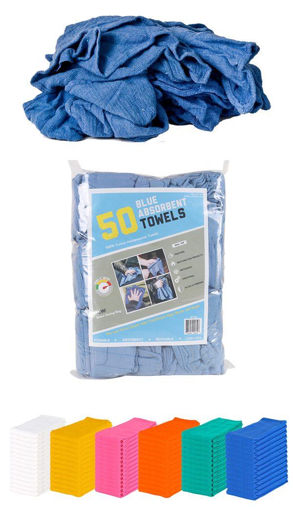 Blue Absorbent Huck Towels