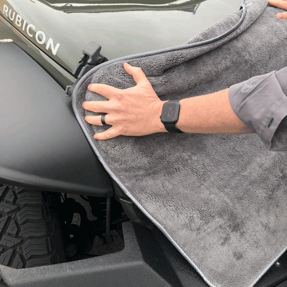 Towelzilla drying jeep hood