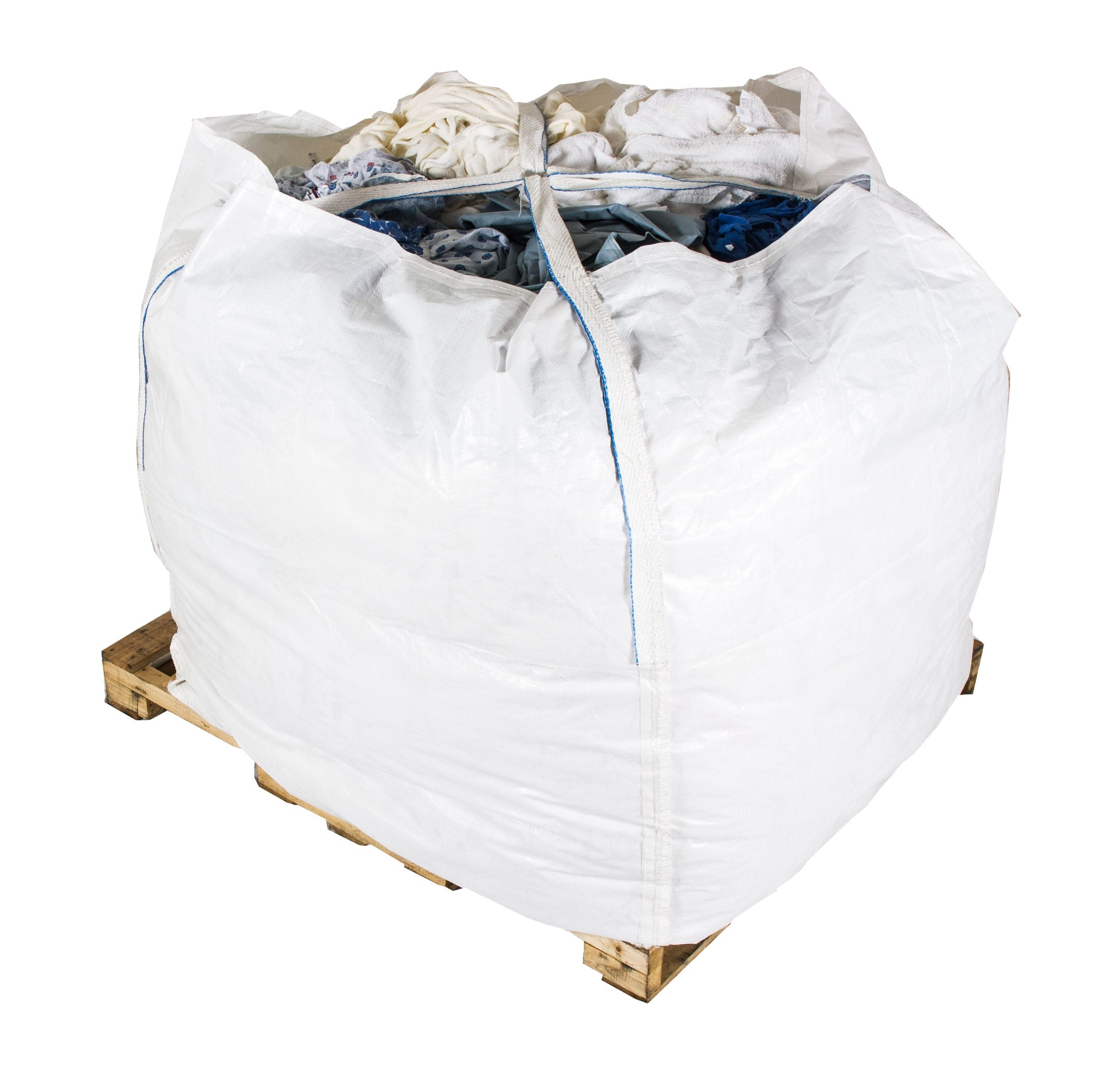 Plastic bag on pallet filled with rags