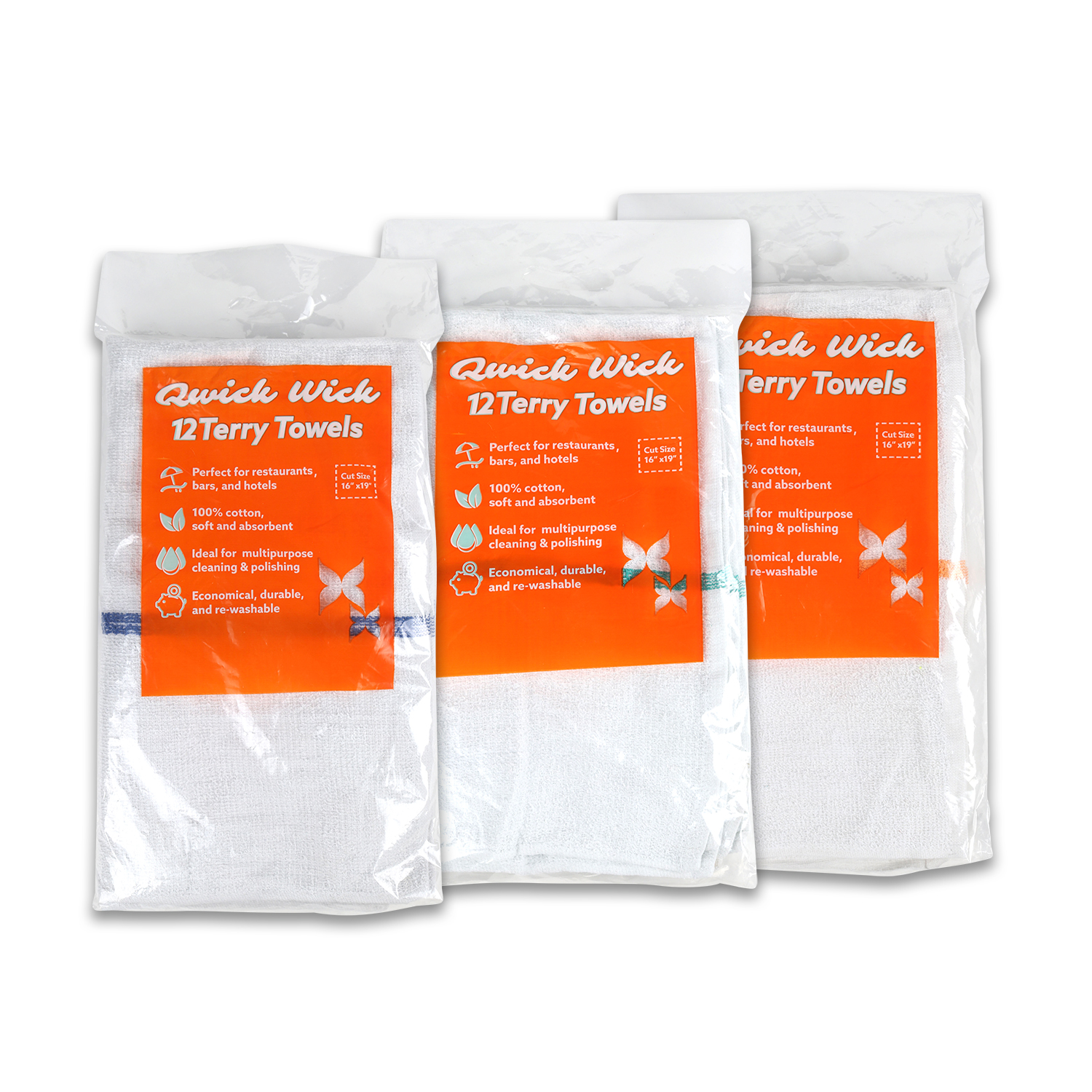 three retail bags of utility towels